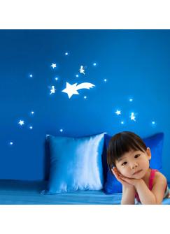 Leuchtsticker Leuchtsterne Glühwürmchen mit Sterne fluoreszierend M694