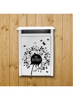 Wandtattoo Briefkastenaufkleber Pusteblume outdoor mit Wunschnamen und Schmetterlingen M1876