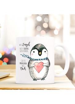 Tasse Pinguin mit Herz und Spruch Engel… Menschen wie dich ts368