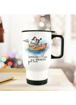 """Thermobecher Isolierbecher bedruckt Hund Dogge im Boot mit Spruch Motto Zitat ein bisschen Meer..."""" tb108"""""""