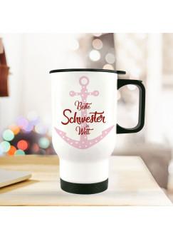 Thermobecher Isolierbecher Geschenk Beste Schwester Spruch Thermo Trinkbecher bedruckt mit Motto Zitat tb109