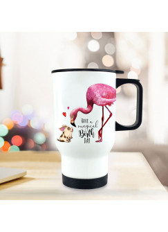 Thermobecher Geburtstag Isolierbecher Geschenk Einschulung Flamingo mit Spruch Thermo Trinkbecher bedruckt Motto have a magical birthday tb116
