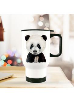 Thermobecher Isolierbecher Geschenk Panda Thermo Trinkbecher Pandabecher bedruckt mit Tiermotiv tb127