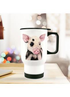Thermobecher Isolierbecher Geschenk Ferkel Schweinchen Thermo Trinkbecher Schweinchenbecher bedruckt mit Tiermotiv tb131