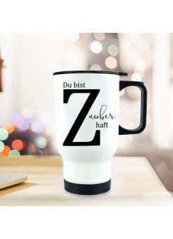 Thermobecher Isolierbecher Buchstabe Z und Spruch Zauberhaft individuell Thermo Trinkbecher bedruckt tb150