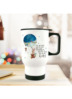 Thermobecher Isolierbecher bedruckt mit Hase & Ballon Motiv & Spruch Mama für mich bist du die Welt Thermo Trinkbecher tb174