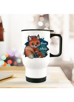Thermobecher Isolierbecher bedruckt mit Fuchs Fuchsmama mit Junges & Spruch Mama mein Zuhause Kaffeebecher Geschenk tb193