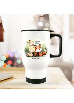 Thermobecher Isolierbecher bedruckt mit Hase & Fuchs Spruch Einfach Sorgen wegschlafen Kaffeebecher Geschenk tb204