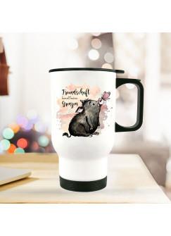 Thermobecher Isolierbecher bedruckt mit Schwein & Schmetterling Spruch Freundschaft Kaffeebecher Geschenk tb206