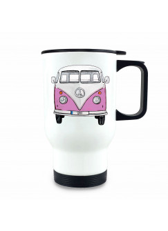 Thermobecher Isolierbecher Bulli Bus rosa Front vorne Thermo Trinkbecher bedruckt Name Wunschname tb211