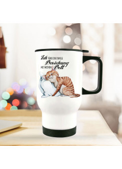 Thermobecher Isolierbecher bedruckt mit Katze & Kissen Spruch Beziehung mit Bett Kaffeebecher Geschenk tb216
