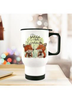 Thermobecher Isolierbecher bedruckt mit Fuchs Pärchen Spruch Neben Schokolade mag ich Dich... Kaffeebecher Geschenk tb219