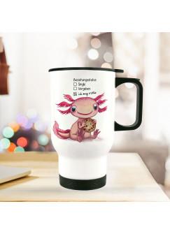 Thermobecher Isolierbecher Axolotl Spruch Beziehungsstatus: ich mag Kekse Kaffeebecher Geschenk tb227