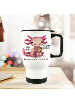 Thermobecher Isolierbecher Axolotl Spruch Ich mag Kekse und Kekse mögen mich Kaffeebecher Geschenk tb228