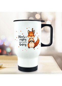 Thermobecher Isolierbecher bedruckt mit Fuchs Indianerfuchs Spruch Thanks for existing... Kaffeebecher Geschenk tb230