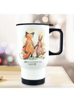 Thermobecher Isolierbecher bedruckt Fuchs Pärchen Liebe muss nicht perfekt sein sondern echt Kaffeebecher Geschenk tb231
