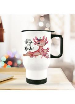 Thermobecher Isolierbecher Axolotl mit Kinder Spruch Mama ist die Beste Kaffeebecher Geschenk tb241