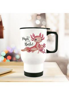 Thermobecher Isolierbecher Axolotl mit Kinder Spruch Papa ist der Beste Kaffeebecher Geschenk tb242