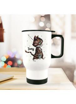 Thermobecher Isolierbecher Kater Katze Kätzchen Angelkatze Angel & Wunschname Name Kaffeebecher Geschenk tb243