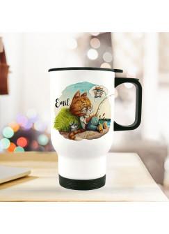 Thermobecher Isolierbecher Kater Katze Kätzchen Angelkater Angel & Wunschname Name Kaffeebecher Geschenk tb249