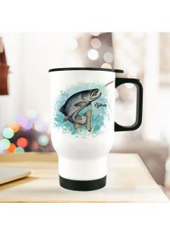 Thermobecher Isolierbecher Meerforelle Lachsforelle Fisch & Wunschname Name Kaffeebecher Geschenk tb250