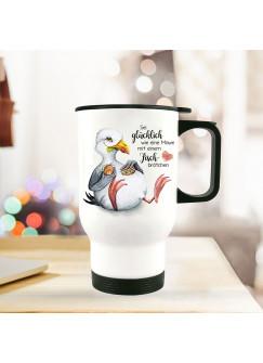 Thermobecher Isolierbecher Möwe Vogel Spruch Sei glücklich wie eine Möwe Kaffeebecher Geschenk tb258