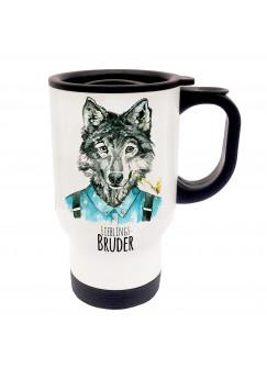 Thermobecher Wolf Wolfshund mit Spruch Lieblingsbruder tb026