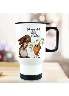 Thermobecher Isolierbecher Hase Häschen mit Karotte & Spruch Ich mag dich volle Möhre Kaffeebecher Geschenk tb285