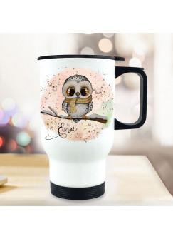 Thermobecher Isolierbecher Eule Eulchen auf Ast rosa Hintergrund & Wunschname Name Kaffeebecher Geschenk tb292