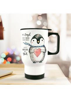 Thermobecher Pinguin mit Herz und Spruch Menschen wie dich...tb061