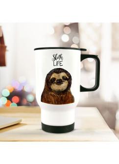 Thermobecher mit Faultier und Spruch sloth life tb063