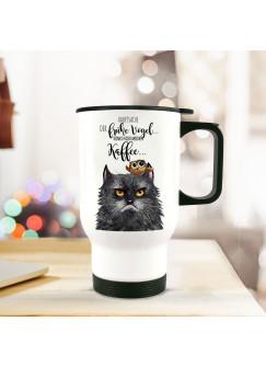 Thermobecher grimmige Katze GRUMPY mit Spruch der frühe Vogel...tb067