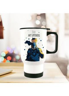 Thermobecher Vatertag mit Superhelden Punkten und Spruch dad my superhero tb092