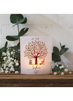 Teelichthüllen zur Taufe 2er 4er Set für Windlichter Teelicht Lichthülle Hülle Baum rosa Fuchs Waschbär + Wunschname Datum te120