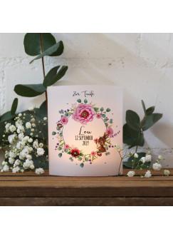 Teelichthüllen zur Taufe 2er 4er Set für Windlichter Teelicht Lichthülle Hülle Blütenkranz Hase + Wunschname Datum te122