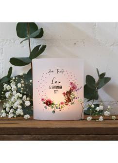 Teelichthüllen zur Taufe 2er 4er Set für Windlichter Teelicht Lichthülle Hülle Blumen Hase + Wunschname Datum te123