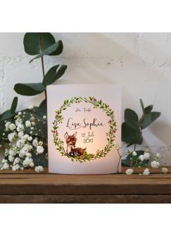 Teelichthüllen zur Taufe 2er 4er Set für Windlichter Teelicht Lichthülle Hülle Blätterkranz Reh + Wunschname Datum te124
