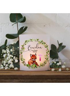 Teelichthüllen Taufe 2er 4er Set für Windlichter Teelicht Lichthülle Blätterkranz Fuchs pinkes Kreuz + Wunschname Datum te128
