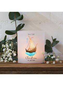 Teelichthüllen zur Taufe 2er 4er Set für Windlichter Teelicht Lichthülle Hülle Segelboot Schiff mit Kreuz + Wunschname Datum te147