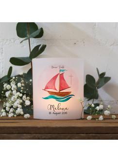 Teelichthüllen zur Taufe 2er 4er Set für Windlichter Teelicht Lichthülle Hülle Segelboot Schiff rosa Kreuz + Wunschname Datum te148