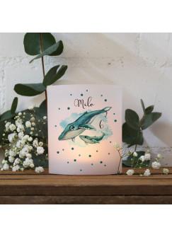 Teelichthüllen 2er 4er Set für Teelichter Lichthülle Hülle Wal Walbaby + Wunschname Alter te157