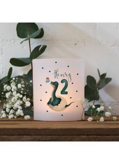 Teelichthüllen 2er 4er Set für Teelichter Lichthülle Hülle Dino im Ei + Wunschname Alter te158
