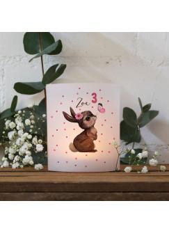 Teelichthüllen 2er 4er Set für Teelichter Lichthülle Hülle Hase Schmetterling + Wunschname Alter te159