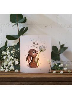 Teelichthüllen 2er 4er Set für Teelichter Lichthülle Hülle Hase Häschen Pusteblume + Wunschname Alter te160