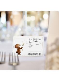 Tischkarte Platzkarte Karte zur Taufe Bär Pusteblume tk17