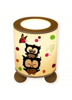 Tischlampe Eulen mit Schmetterling und Konfetti tl008