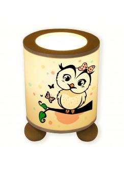Tischlampe Eule Eulchen auf Ast mit Schmetterling und Punkte tl010