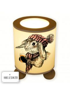Tischlampe Häschen Kaninchen im Winter mit Tee tl021