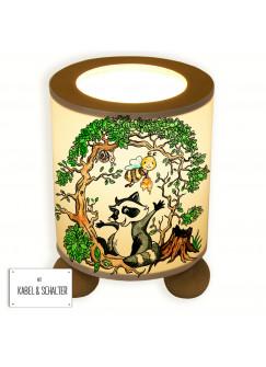 Tischlampe Waschbär und Biene im Wald tl040
