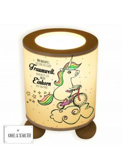 Tischlampe Einhorn auf Fahrrad mit Sternen Punkten und Spruch Traumwelt... tl044